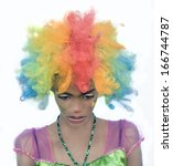 female clown with sad... | Shutterstock . vector #166744787