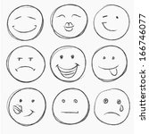 vector set of hand drawn faces  ... | Shutterstock .eps vector #166746077