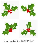 christmas holly berry icon... | Shutterstock .eps vector #166749743
