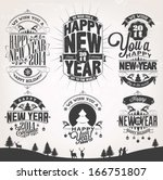 new year retro icons  elements... | Shutterstock .eps vector #166751807