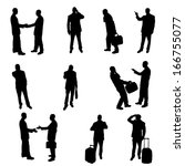 silhouettes of businesspeople | Shutterstock . vector #166755077
