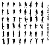 silhouettes of people | Shutterstock . vector #166755143