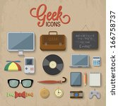 geek accessories. vector... | Shutterstock .eps vector #166758737