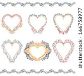 set of vector hand drawn heart... | Shutterstock .eps vector #166758977
