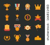 prizes   awards icons   flat... | Shutterstock .eps vector #166811483