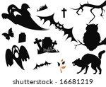 halloween items isolated on... | Shutterstock .eps vector #16681219
