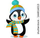 cute winter penguin with hat...