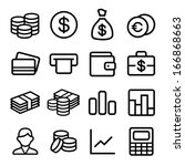 money and coin icon set in ios7 ... | Shutterstock .eps vector #166868663