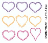 set of hand drawn doodle heart... | Shutterstock .eps vector #166916153
