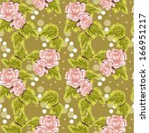 bright floral seamless texture  ... | Shutterstock .eps vector #166951217