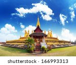 laos travel landmark  golden... | Shutterstock . vector #166993313