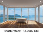 modern bathroom with large bay... | Shutterstock . vector #167002133