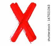 x   red handwritten  letters on ... | Shutterstock .eps vector #167021363