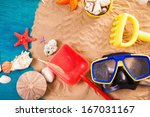 summer background with summer... | Shutterstock . vector #167031167