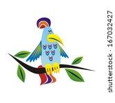 parrot cartoon illustration | Shutterstock . vector #167032427