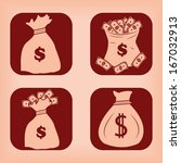 money bag icon   four variations