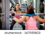 pretty latin brunette doing... | Shutterstock . vector #167050823