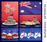 Small photo of Happy Australia Day, January 26, collage of five images with lamingtons, flags, fairy bread, meat pie and sauce, cupcakes and bunting greeting hanging from pegs on a line.