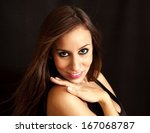 beautiful brunette girl over... | Shutterstock . vector #167068787