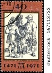 "Small photo of GERMAN DEMOCRATIC REPUBLIC - CIRCA 1971: A stamp by the German Democratic Republic Post shows ""Talk of three peasants"" by Albrecht Durer, circa 1971"