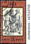 "Small photo of GERMAN DEMOCRATIC REPUBLIC - CIRCA 1971: A stamp by the German Democratic Republic Post shows ""Talk of three peasants"" by Albrecht Durer, circa 1971"