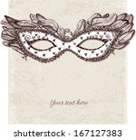 Vintage card with festive venetian mask. Vector illustration.