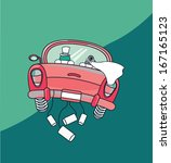 just married car  over green ... | Shutterstock .eps vector #167165123