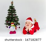 dreaming baby boy dressed as... | Shutterstock . vector #167182877