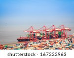 container terminal with foreign ... | Shutterstock . vector #167222963