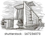 architectural sketch.... | Shutterstock .eps vector #167236073