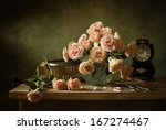 Still Life With Pink Roses And...