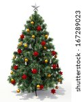 christmas tree with decorations ... | Shutterstock . vector #167289023