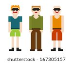set of three 8bit men   differs ...