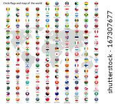 Circle flags vector of the world and world map on white background