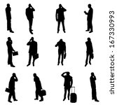 silhouettes of businesspeople | Shutterstock .eps vector #167330993
