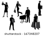 people shopping silhouettes ... | Shutterstock .eps vector #167348207