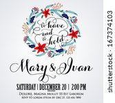 wedding invitation  thank you... | Shutterstock .eps vector #167374103