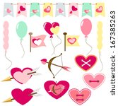 set of simply flat love icons... | Shutterstock . vector #167385263