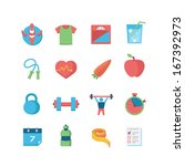 fitness   health icons | Shutterstock .eps vector #167392973