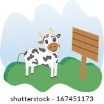 agriculture,animal,background,blue,brown,cartoon,clip-art,color,cow,cute,eating,farm,field,fun,funny