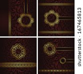 vector set of vintage cards.... | Shutterstock .eps vector #167465813