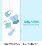 baby boy arrival invitation | Shutterstock .eps vector #167468297