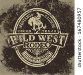 Wild west rodeo, vintage vector artwork for boy wear, grunge effect in separate layers