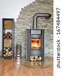 Wood Fired Stove Burning With...