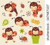 cute ladybug babies set | Shutterstock . vector #167487107