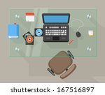 working place of an office... | Shutterstock .eps vector #167516897