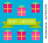 six gift boxes with ribbons and ... | Shutterstock . vector #167542193