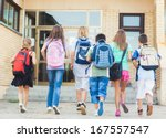 group of kids going to school... | Shutterstock . vector #167557547