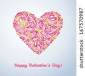 figured heart. happy valentine... | Shutterstock .eps vector #167570987