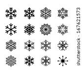 collection of black snowflakes | Shutterstock .eps vector #167621573